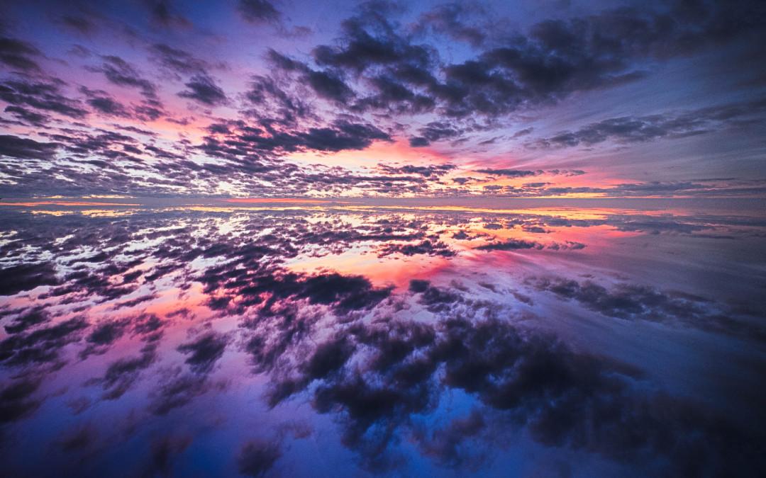 Spiegelung Sonnenuntergang am Stuiben